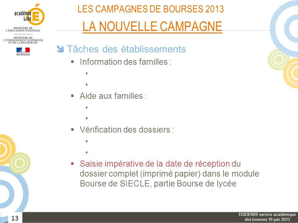 13 LES CAMPAGNES DE BOURSES 2013 LA NOUVELLE CAMPAGNE Tâches des établissements Information des familles : Aide aux familles : Vérification des dossie