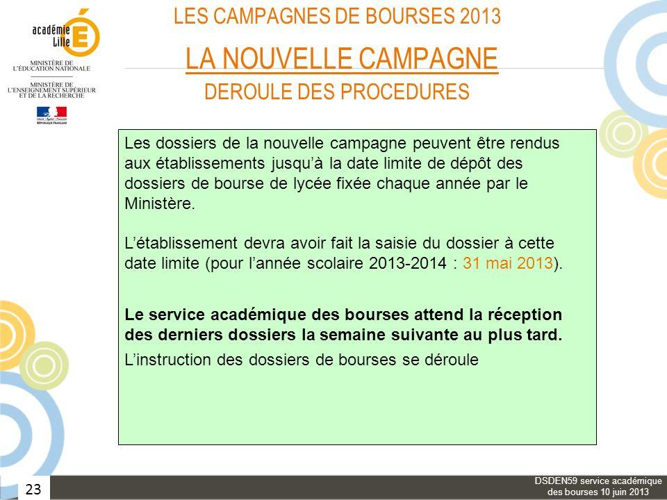 23 LES CAMPAGNES DE BOURSES 2013 LA NOUVELLE CAMPAGNE DEROULE DES PROCEDURES Les dossiers de la nouvelle campagne peuvent être rendus aux établissemen