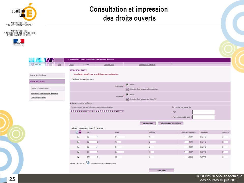 25 Consultation et impression des droits ouverts DSDEN59 service académique des bourses 10 juin 2013