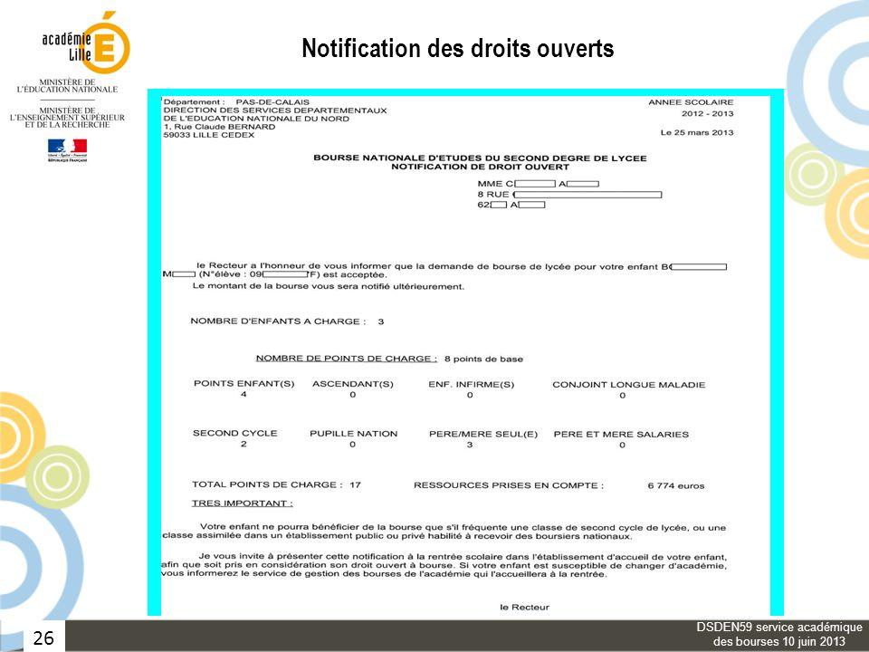 26 Notification des droits ouverts DSDEN59 service académique des bourses 10 juin 2013