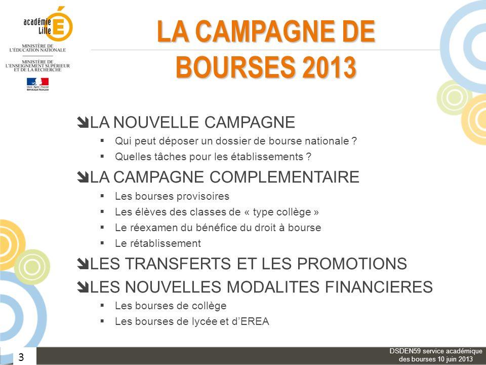 3 LA CAMPAGNE DE BOURSES 2013 LA NOUVELLE CAMPAGNE Qui peut déposer un dossier de bourse nationale ? Quelles tâches pour les établissements ? LA CAMPA