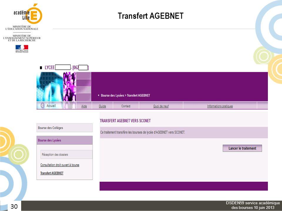 30 Transfert AGEBNET DSDEN59 service académique des bourses 10 juin 2013