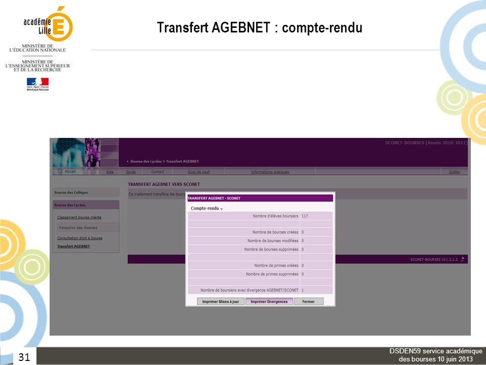 31 Transfert AGEBNET : compte-rendu DSDEN59 service académique des bourses 10 juin 2013
