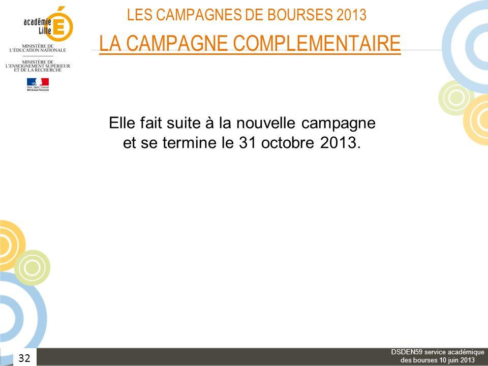 32 LES CAMPAGNES DE BOURSES 2013 LA CAMPAGNE COMPLEMENTAIRE Elle fait suite à la nouvelle campagne et se termine le 31 octobre 2013. DSDEN59 service a