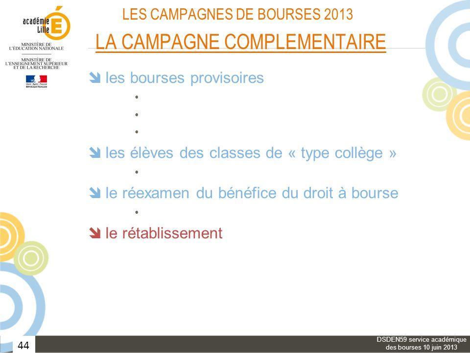 44 LES CAMPAGNES DE BOURSES 2013 LA CAMPAGNE COMPLEMENTAIRE les bourses provisoires les élèves des classes de « type collège » le réexamen du bénéfice