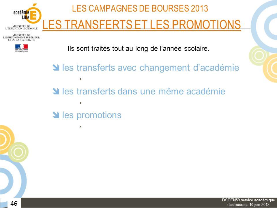 46 LES CAMPAGNES DE BOURSES 2013 LES TRANSFERTS ET LES PROMOTIONS les transferts avec changement dacadémie les transferts dans une même académie les p