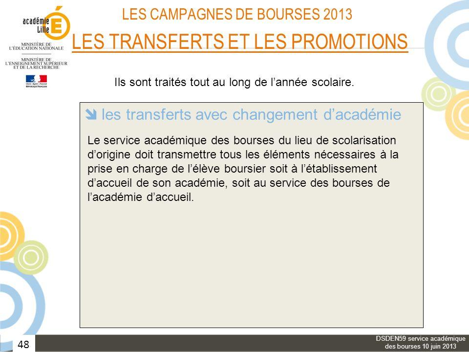 48 LES CAMPAGNES DE BOURSES 2013 LES TRANSFERTS ET LES PROMOTIONS les transferts avec changement dacadémie les transferts dans une même académie les p