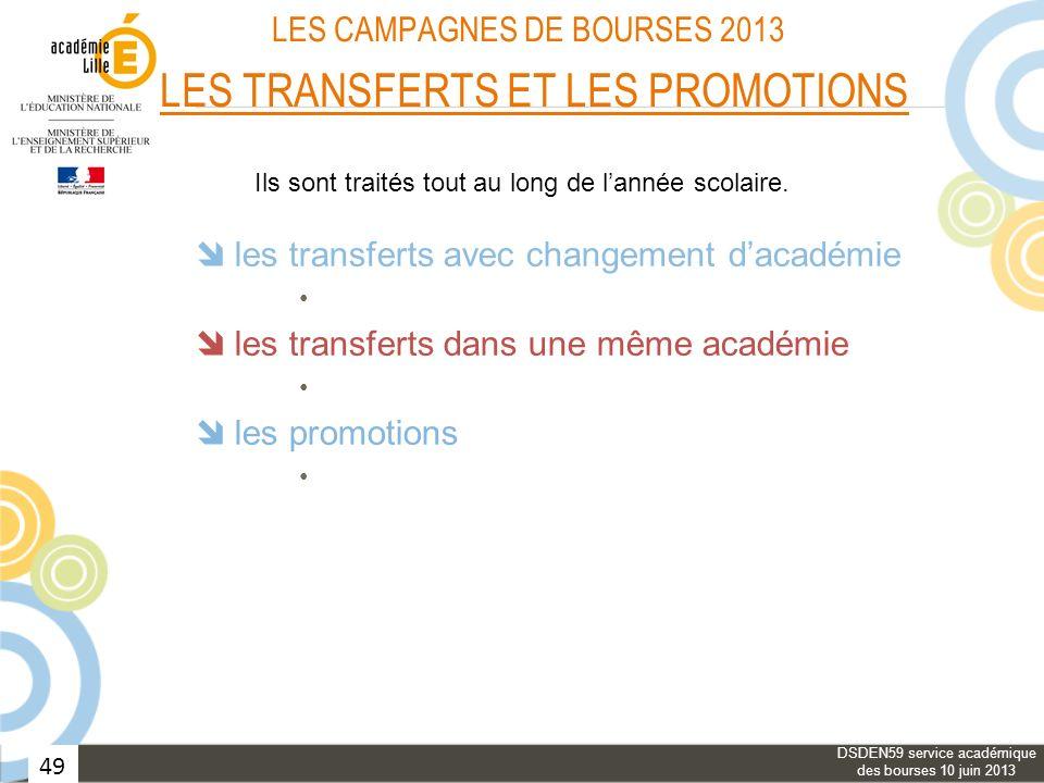 49 LES CAMPAGNES DE BOURSES 2013 LES TRANSFERTS ET LES PROMOTIONS les transferts avec changement dacadémie les transferts dans une même académie les p