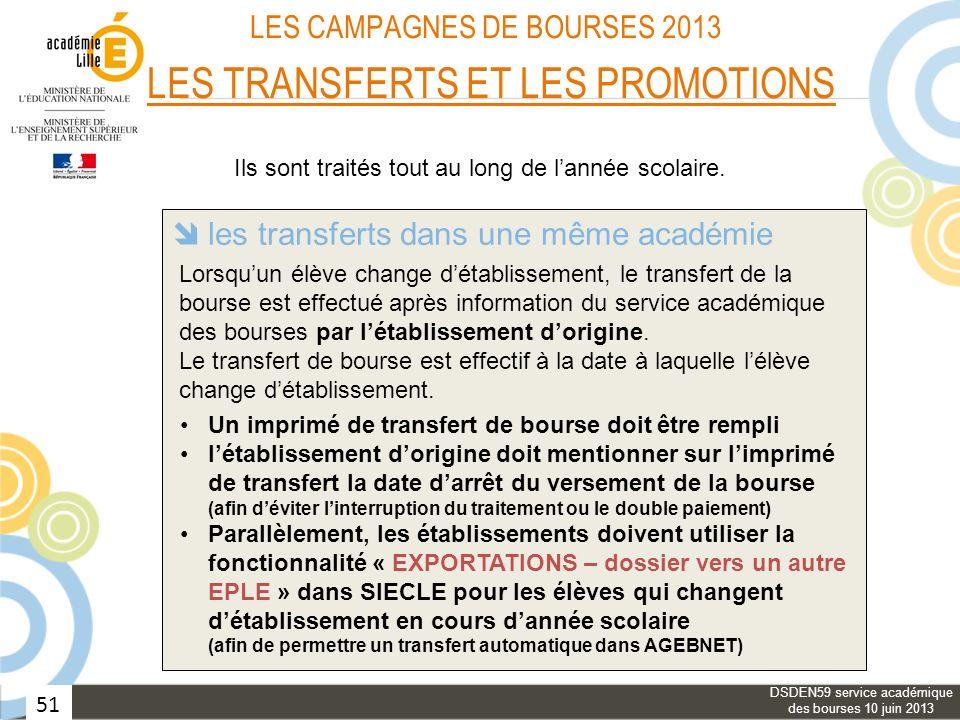 51 LES CAMPAGNES DE BOURSES 2013 LES TRANSFERTS ET LES PROMOTIONS les transferts avec changement dacadémie les transferts dans une même académie les p