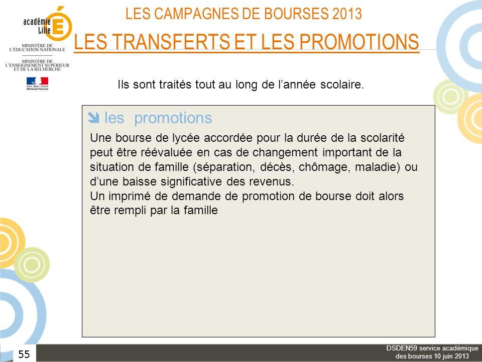 55 LES CAMPAGNES DE BOURSES 2013 LES TRANSFERTS ET LES PROMOTIONS les transferts avec changement dacadémie les transferts dans une même académie les p