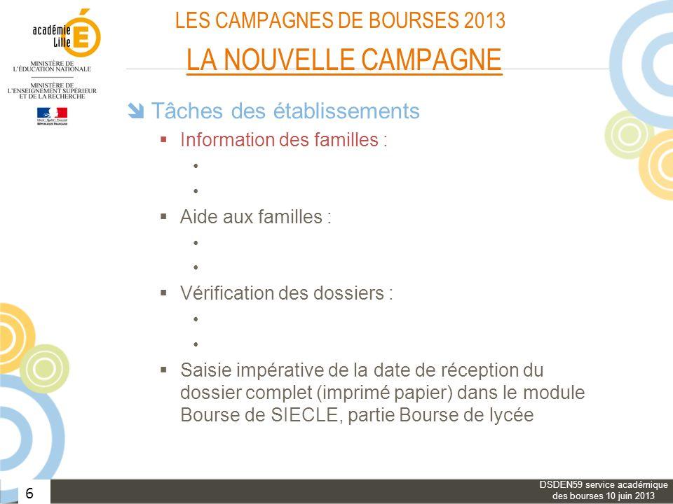 6 LES CAMPAGNES DE BOURSES 2013 LA NOUVELLE CAMPAGNE Tâches des établissements Information des familles : Aide aux familles : Vérification des dossier