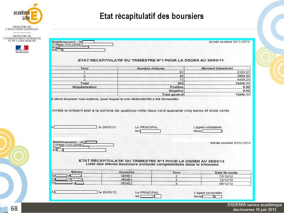 68 Etat récapitulatif des boursiers DSDEN59 service académique des bourses 10 juin 2013