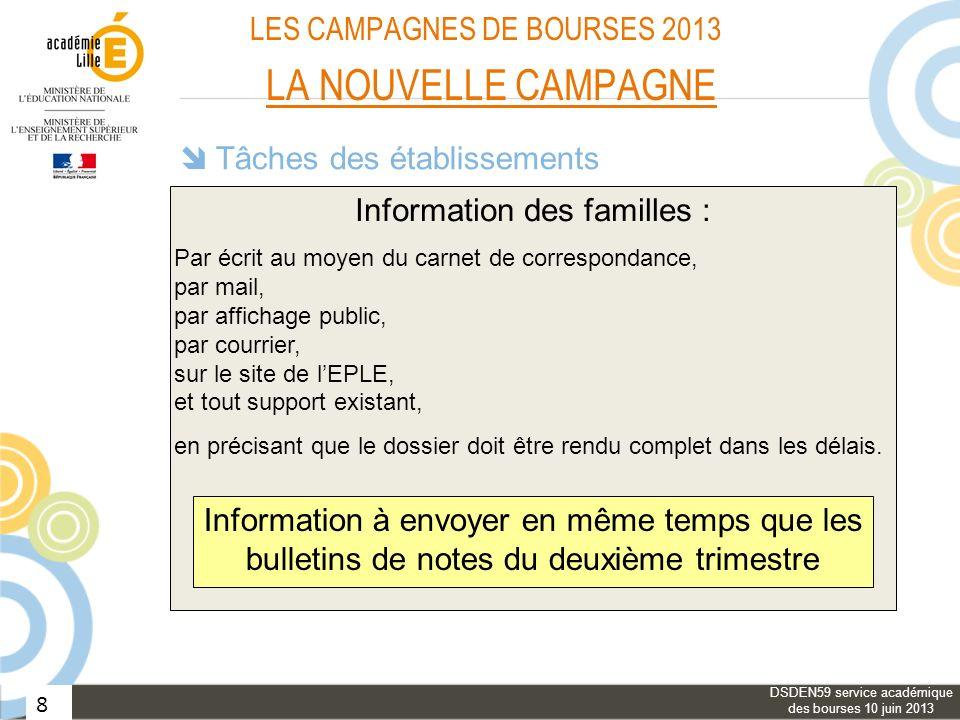 8 LES CAMPAGNES DE BOURSES 2013 LA NOUVELLE CAMPAGNE Tâches des établissements Information des familles : Aide aux familles : Vérification des dossier