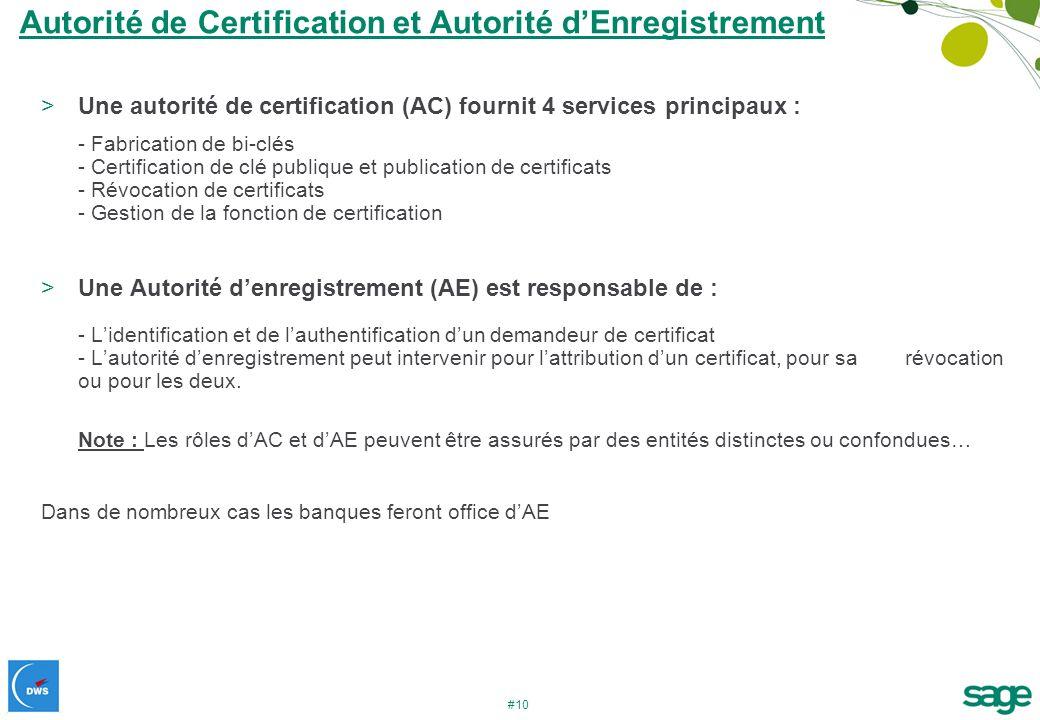 #10 Autorité de Certification et Autorité dEnregistrement >Une autorité de certification (AC) fournit 4 services principaux : - Fabrication de bi-clés