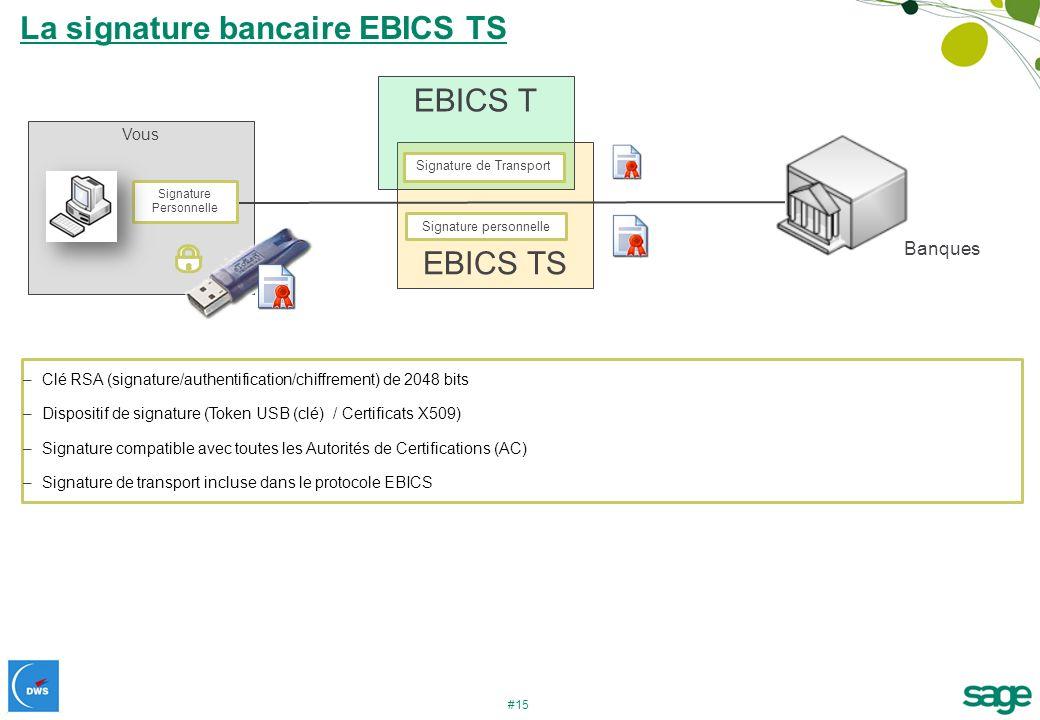 #15 EBICS TS EBICS T La signature bancaire EBICS TS Vous Signature de Transport Signature Personnelle Banques Signature personnelle –Clé RSA (signatur