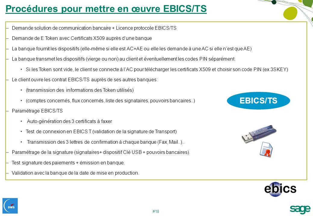#18 –Demande solution de communication bancaire + Licence protocole EBICS/TS –Demande de E Token avec Certificats X509 auprès dune banque –La banque f