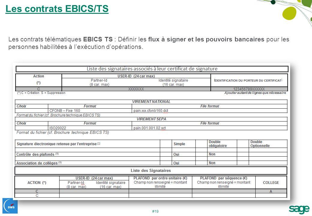 #19 Les contrats télématiques EBICS TS : Définir les flux à signer et les pouvoirs bancaires pour les personnes habilitées à lexécution dopérations. L