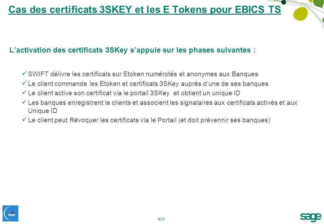 #20 Cas des certificats 3SKEY et les E Tokens pour EBICS TS Lactivation des certificats 3SKey sappuie sur les phases suivantes : SWIFT délivre les cer