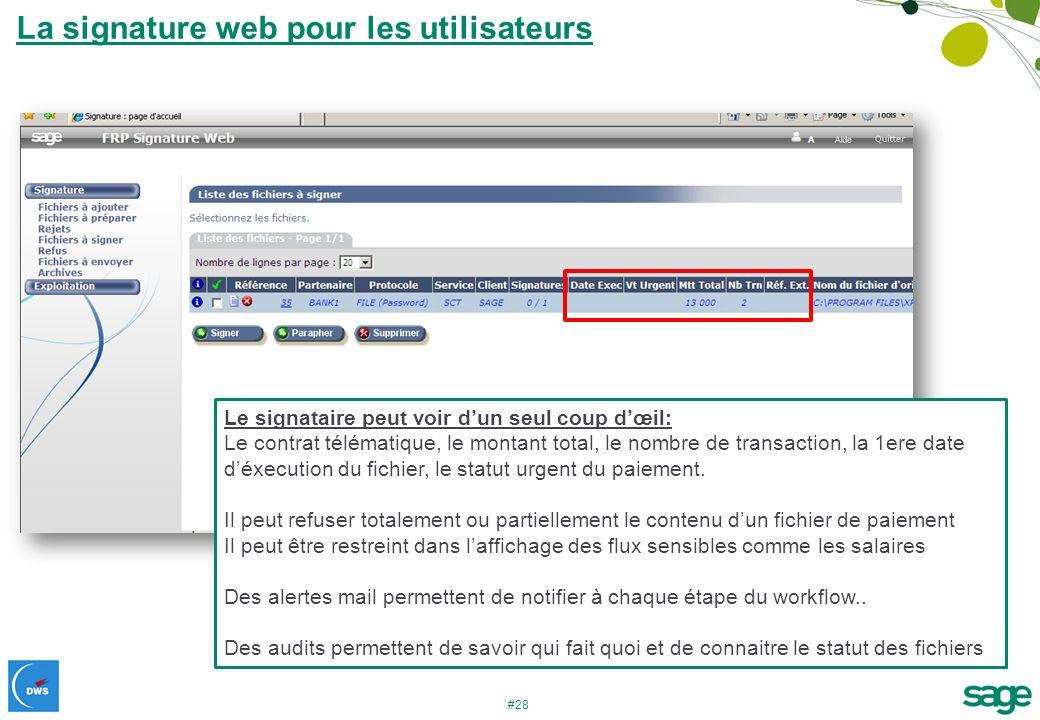 #28 La signature web pour les utilisateurs Le signataire peut voir dun seul coup dœil: Le contrat télématique, le montant total, le nombre de transact