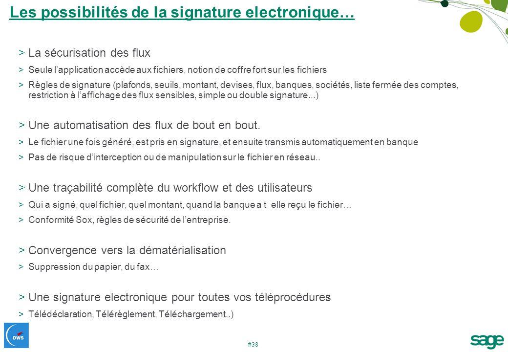 #38 >La sécurisation des flux >Seule lapplication accède aux fichiers, notion de coffre fort sur les fichiers >Règles de signature (plafonds, seuils,