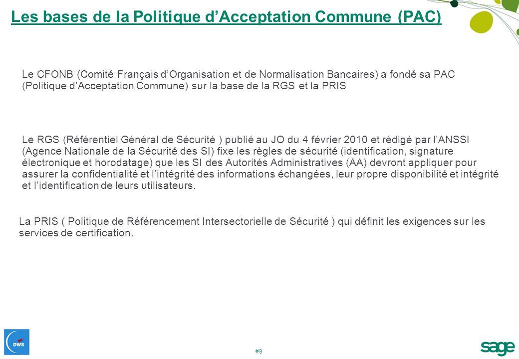 #9 Les bases de la Politique dAcceptation Commune (PAC) Le CFONB (Comité Français dOrganisation et de Normalisation Bancaires) a fondé sa PAC (Politiq