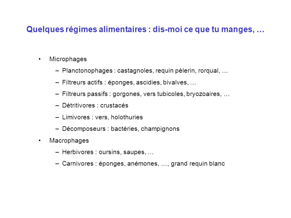 Quelques régimes alimentaires : dis-moi ce que tu manges, … Microphages –Planctonophages : castagnoles, requin pèlerin, rorqual, … –Filtreurs actifs :