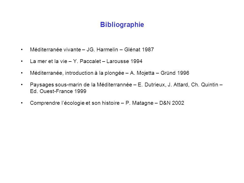 Bibliographie Méditerranée vivante – JG. Harmelin – Glénat 1987 La mer et la vie – Y. Paccalet – Larousse 1994 Méditerranée, introduction à la plongée