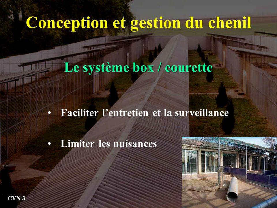Le système box / courette Conception et gestion du chenil Faciliter lentretien et la surveillance Limiter les nuisances CYN 3