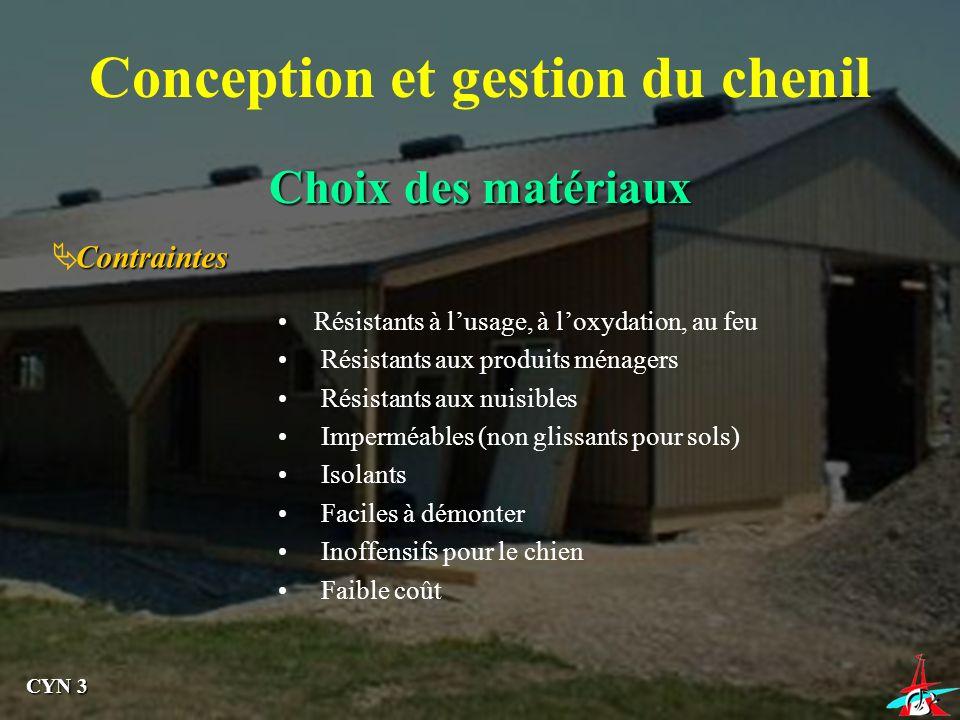 Choix des matériaux Conception et gestion du chenil Contraintes Résistants à lusage, à loxydation, au feu Résistants aux produits ménagers Résistants