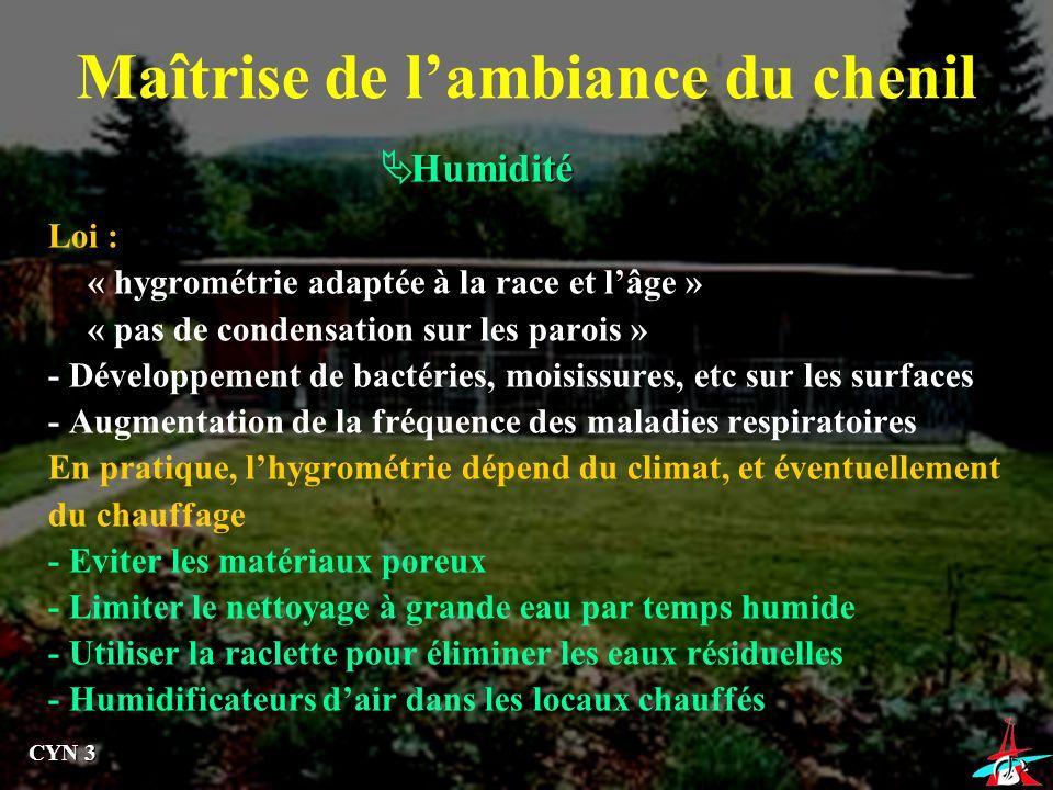 Maîtrise de lambiance du chenil Humidité Loi : « hygrométrie adaptée à la race et lâge » « pas de condensation sur les parois » - Développement de bac