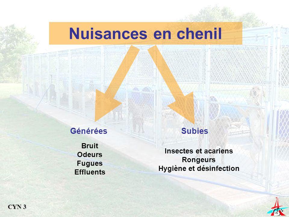 Nuisances en chenil GénéréesSubies Bruit Odeurs Fugues Effluents Insectes et acariens Rongeurs Hygiène et désinfection CYN 3
