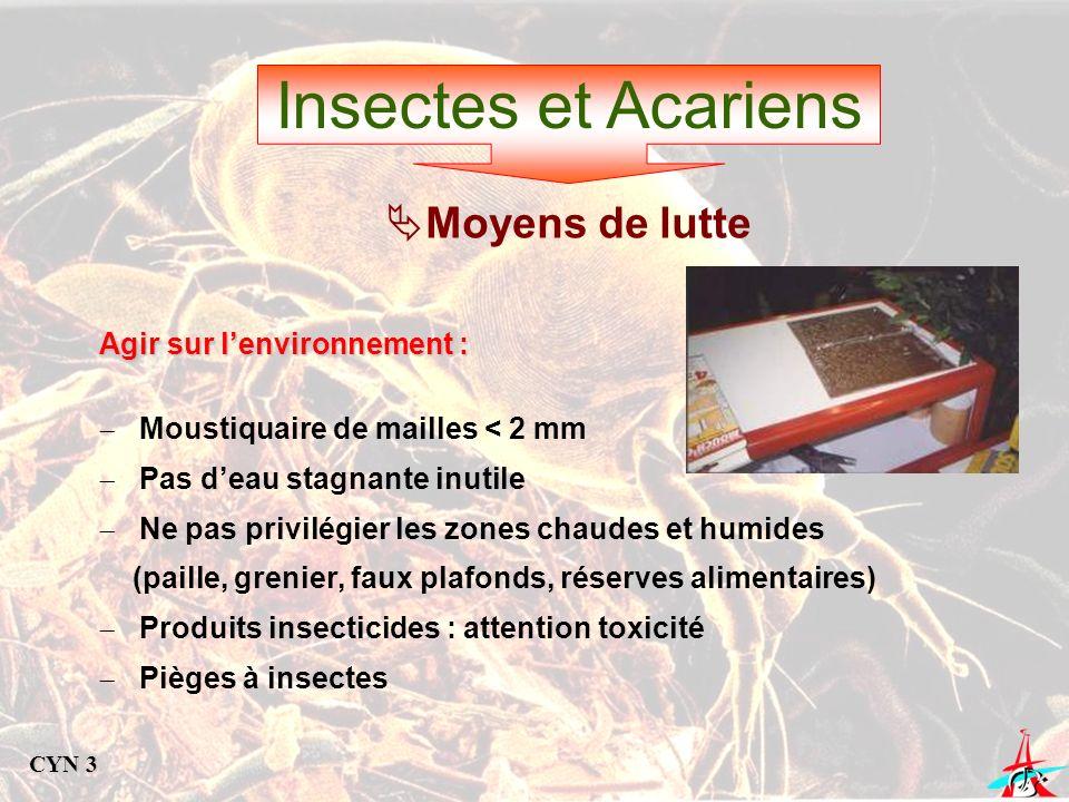 Insectes et Acariens Agir sur lenvironnement : Moustiquaire de mailles < 2 mm Pas deau stagnante inutile Ne pas privilégier les zones chaudes et humid