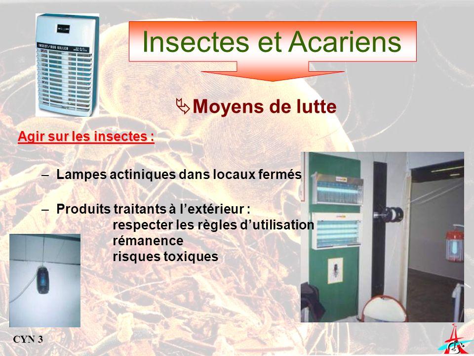 Insectes et Acariens Moyens de lutte Agir sur les insectes : –Lampes actiniques dans locaux fermés –Produits traitants à lextérieur : respecter les rè