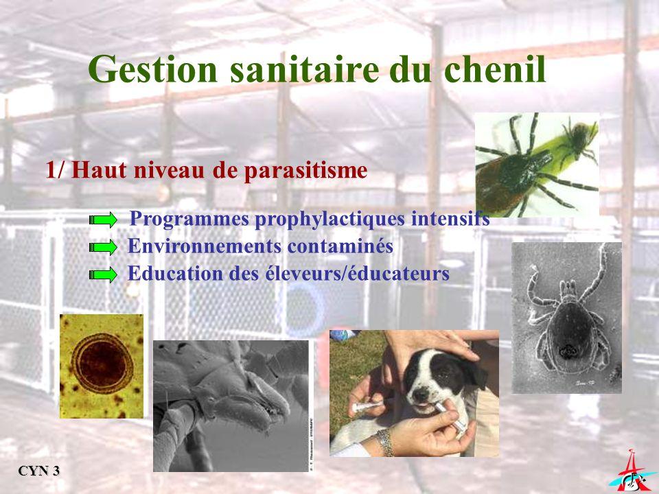 Gestion sanitaire du chenil 1/ Haut niveau de parasitisme Programmes prophylactiques intensifs Environnements contaminés Education des éleveurs/éducat