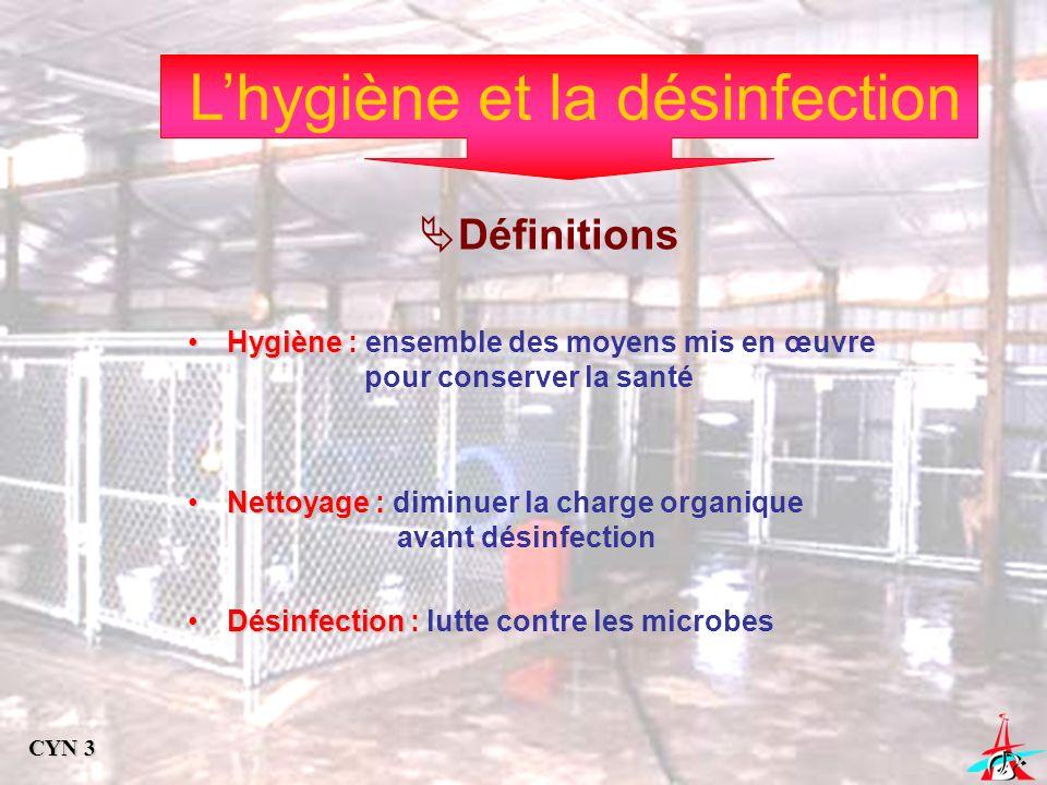 Lhygiène et la désinfection Définitions HygièneHygiène : ensemble des moyens mis en œuvre pour conserver la santé NettoyageNettoyage : diminuer la cha