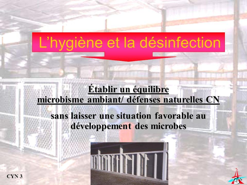 Lhygiène et la désinfection Établir un équilibre microbisme ambiant/ défenses naturelles CN sans laisser une situation favorable au développement des