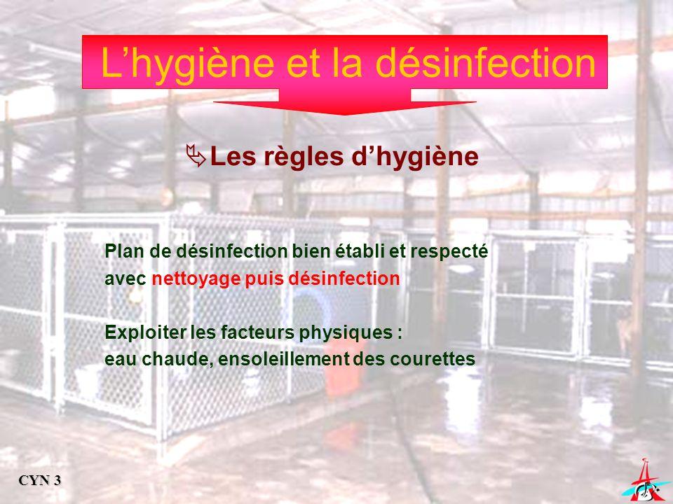 Lhygiène et la désinfection Les règles dhygiène Plan de désinfection bien établi et respecté avec nettoyage puis désinfection Exploiter les facteurs p