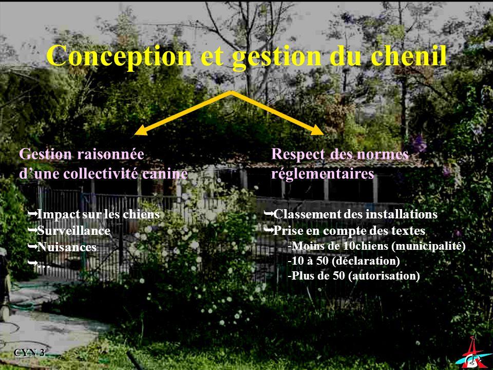 Conception et gestion du chenil Gestion raisonnée dune collectivité canine Respect des normes réglementaires Impact sur les chiens Surveillance Nuisan