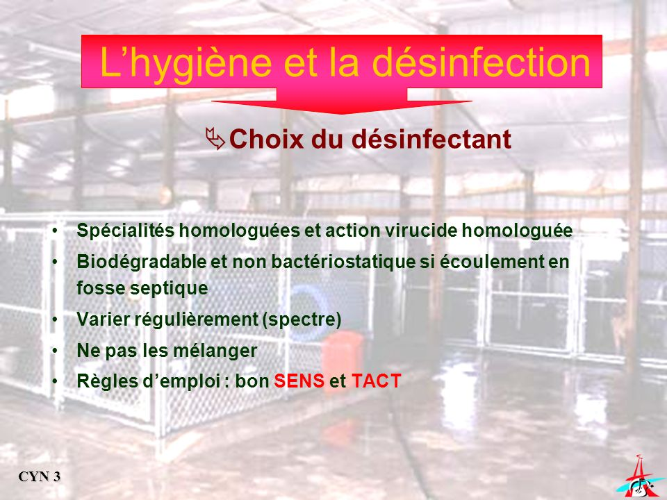 Lhygiène et la désinfection Choix du désinfectant Spécialités homologuées et action virucide homologuée Biodégradable et non bactériostatique si écoul