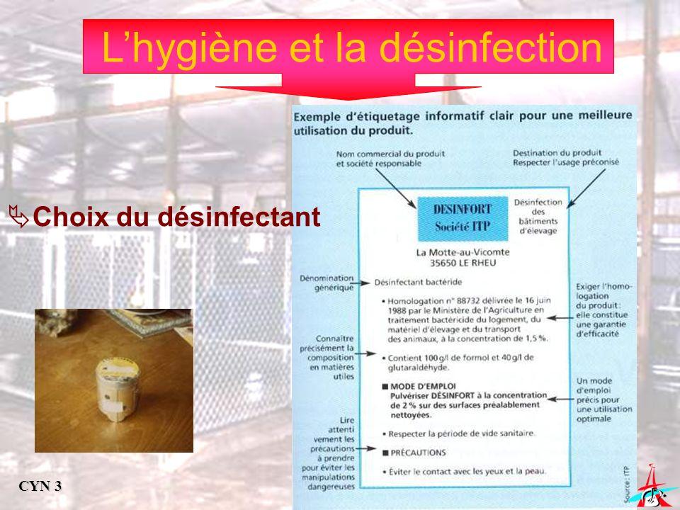 Lhygiène et la désinfection Choix du désinfectant CYN 3