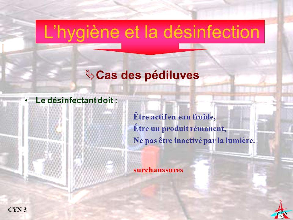 Lhygiène et la désinfection Cas des pédiluves Le désinfectant doit : Être actif en eau froide, Être un produit rémanent, Ne pas être inactivé par la l