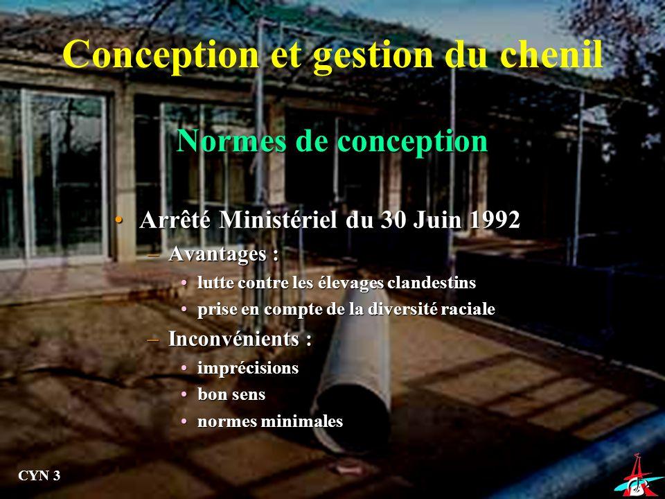 Normes de conception Arrêté Ministériel du 30 Juin 1992Arrêté Ministériel du 30 Juin 1992 –Avantages : lutte contre les élevages clandestinslutte cont