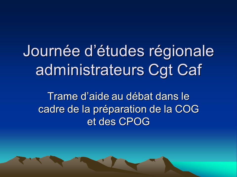 Journée détudes régionale administrateurs Cgt Caf Trame daide au débat dans le cadre de la préparation de la COG et des CPOG