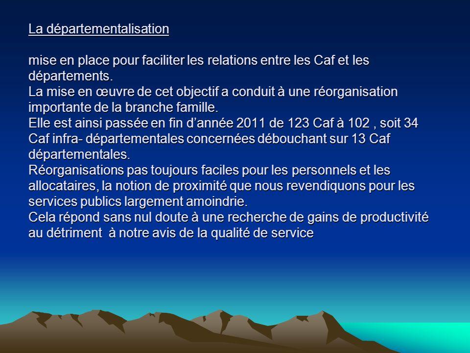 La départementalisation mise en place pour faciliter les relations entre les Caf et les départements.