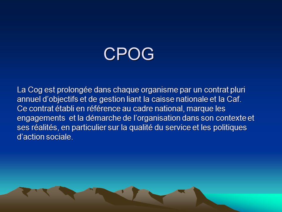 CPOG La Cog est prolongée dans chaque organisme par un contrat pluri annuel dobjectifs et de gestion liant la caisse nationale et la Caf.