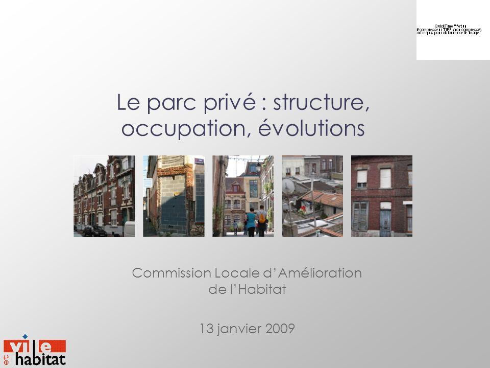 Le parc privé : structure, occupation, évolutions Commission Locale dAmélioration de lHabitat 13 janvier 2009 Commission Locale dAmélioration de lHabi