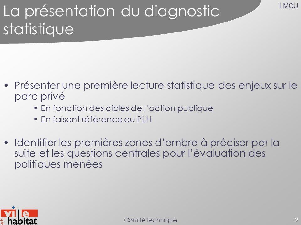LMCU Comité technique2 La présentation du diagnostic statistique Présenter une première lecture statistique des enjeux sur le parc privé En fonction d