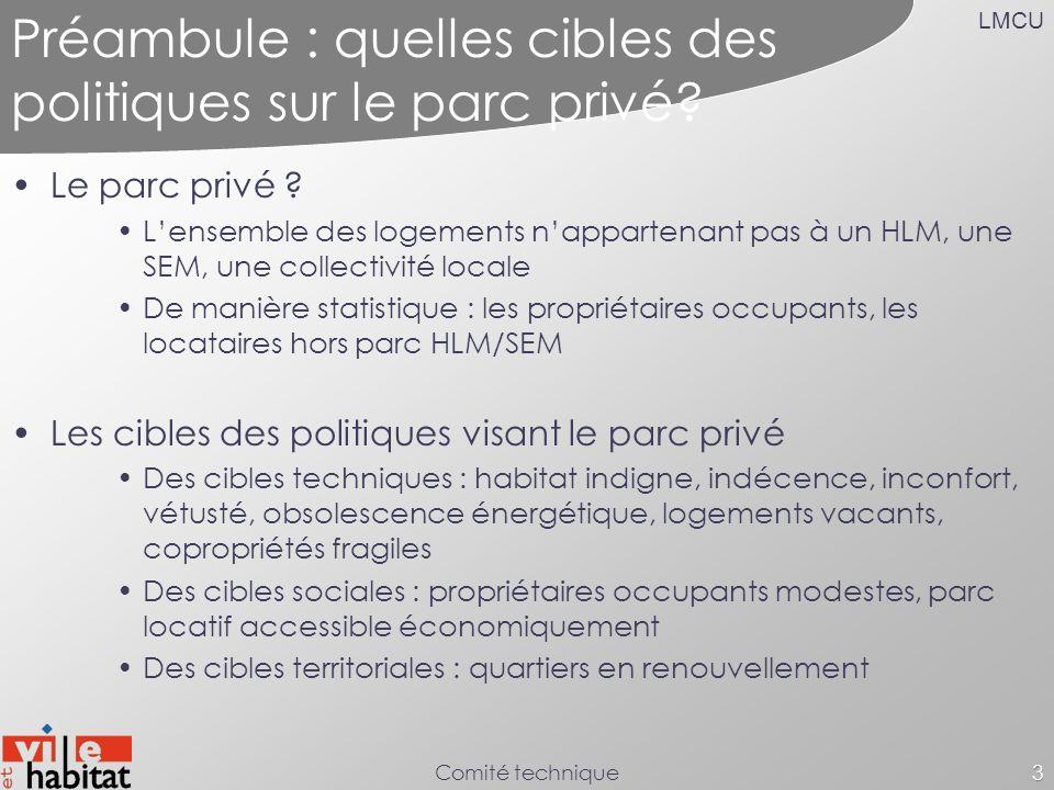LMCU Comité technique3 Préambule : quelles cibles des politiques sur le parc privé? Le parc privé ? Lensemble des logements nappartenant pas à un HLM,