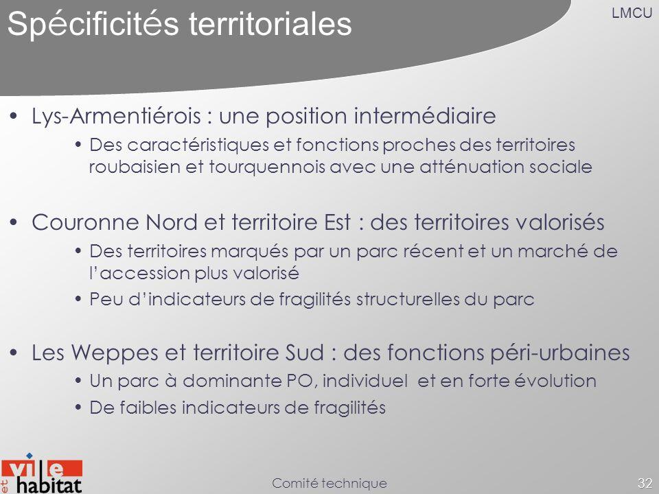 LMCU Comité technique32 Sp é cificit é s territoriales Lys-Armentiérois : une position intermédiaire Des caractéristiques et fonctions proches des ter