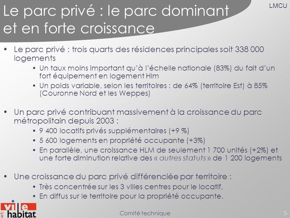 LMCU Comité technique5 Le parc privé : le parc dominant et en forte croissance Le parc privé : trois quarts des résidences principales soit 338 000 lo